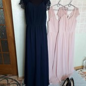 вишукане плаття темно синього кольору, кружевні плечики