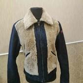 Унисекси!!Шикарная куртка, комбинированная джинс и мех, размер евро 40
