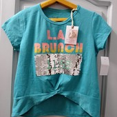 Новая фирменная нарядная футболочка, р-р М, может на S, для девушек, до талии