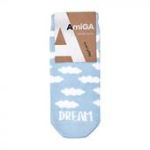 Носки женские AmiGA средние, облака голубые, размер 23-25