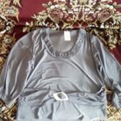 Блуза женская классика серого цвета 54 размер