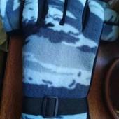 Зима! Перчатки флисовые камуфляж на выбор