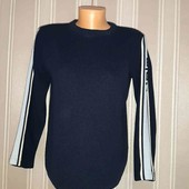 Темно синий  свитер с лампасами