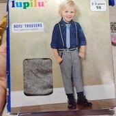 Германия!!! Стильные брюки с манжетами! На подтяжках! Для мальчика! 98 рост!