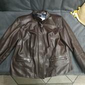 Турецкая кожаная куртка шоколад на наш 54-56р. отличное состояние