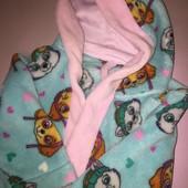 Мягенький домашний банный халат с капюшоном для девочки 2-3 лет рост 92-98