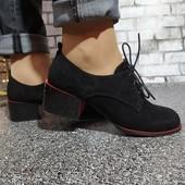 Туфельки на широком каблучке со шнуровкой