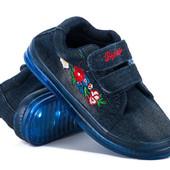 Джинсовые кеды \кроссовки моргающие с вышивкой.