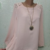 Шикарная нарядная нежная пудровая блуза с ажуром р.14 Новая Акция читайте
