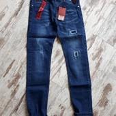 Фирменные плотные джинсы крутая модель цвет синий р152 94/73см