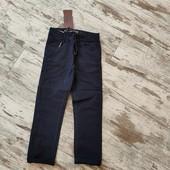 Модные темно синие коттоновые брюки, есть утяжка ✓✓р14 длина 96/73✓✓