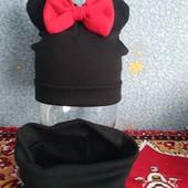 Трикотажный комплект шапка Минни и хомут весенний