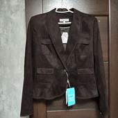 Фирменный новый красивый пиджак из эко-замши и шифона р.12