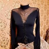 Дорогая нарядная блуза р. S, М сетка+шнуровка!!!