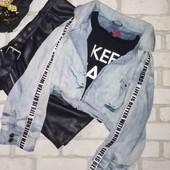 Крутая джинсовая куртка кардиган с лампасами