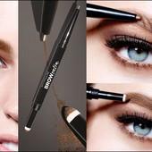 Карандаш-тени для бровей Maybelline brow satin duo Eyebrow pencil, тон medium brown, средне коричн.