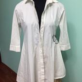 Красивая удлиненная рубашка, р.38, хлопок 72 %, состояние новой вещи.