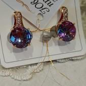 Шикарные серьги с фианитами и кристаллами Swarovski цвета хамелеон, позолота 585 пробы