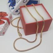 Шикарная цепочка,красивое плетение круглый,,Снейк'' длина 44см,3 мм,позолота 18К,под жёлтую позолоту