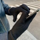 Мужские кашемировые перчатки сенcорные черные