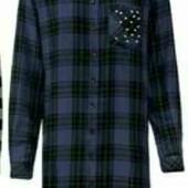 esmara .стильная фланелевая удлиненная рубашка с бусинами евро 38+6замеры