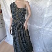Оригинальное длинное платье в пол макси на одно плечо леопардовый принт next