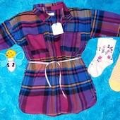 Суперовое баевое платье-рубашечка+2 пары носочков,на малышку 1-1,5 годика