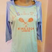 Стильная хлопковая футболка с рукавом ¾ и капюшоном, размер L