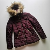 Теплая стеганая куртка с капюштном красивого шоколадного цвета H&M, рвзмер S/M
