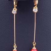 очень красивые и нежные серьги-висюльки с жемчугом (майорка), позолота 585 пробы