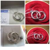 Акция к 8 Марта!Изящные серебряные серьги-кольца 925 пр. .Новые с биркой!