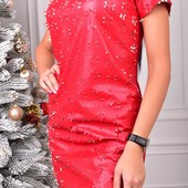 Эфектное платье, экокожа, перфорация, трикотаж.