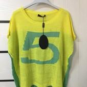 ☘ Лот 1 шт ☘ Туніка-футболка жовто-зелена в'язка від Sarah Chole (Англія), розмір xl