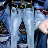 Новые турецкие стрейчевые джинсы р, 26 на бедра 82-88 см, поб 40 см