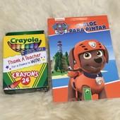 Набор раскраска Щенячий патруль Nickelodeon и фирменные восковые карандаши 24шт. !!!!