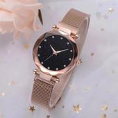 Женские часы Starry Sky Watch на магнитной застёжке, сетчатый металлический браслет,Золотой