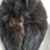 Большой меховой воротник из песца, цвет коричневый