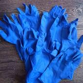 Синие плотные хозяйственные перчатки 8шт.