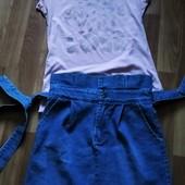 Джинсовая юбка с завышенной талией.... футболка в подарок