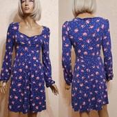 нежное платье цветы р 12 uk м - l смотрим замеры