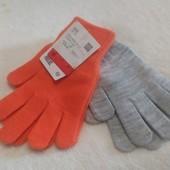Перчатки женские трикотажные( в лоте 2 пары, оранжевые и серые)