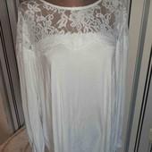 Біла стрейчева блуза з кружевом Next р20 (Пог 58+)