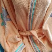 Махровый халат персикового цвета на 42-44 евр.