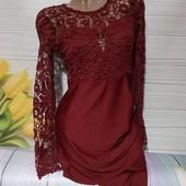 Вау! Шикарное стрейчевое платьице с кружевным верхом размер S