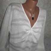 Очень нежный оригинальный натуральный свитер 16р., грудь 57, 100% лён