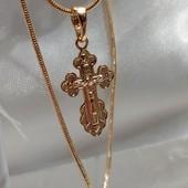 красивый небольшой крестик с распятием, надпись Спаси и Сохрани, подойдет деткам, позолота 585 пробы