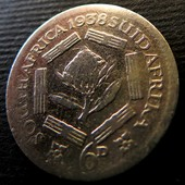 №34 монета ЮАР 6 пенсов, 1938, серебро