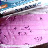 Детская трехслойная маска, розовая Мишка, в лоте 50 шт
