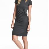 H&M-трикотажное платье с драпировкой М/Л.