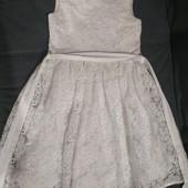 Нарядное белое хлопковое платье пышное на подкладке на 128 рост
